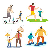 Collection of father and son  illustrations spending the weekend together. Cartoon vector characters isolated on white background.