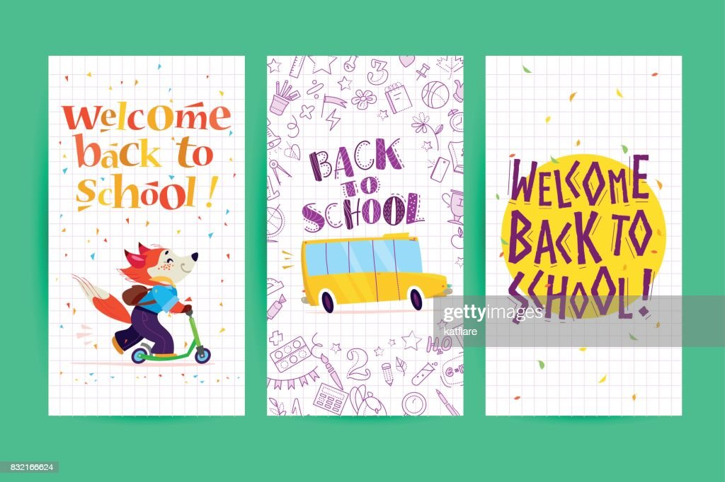 Collection Of Flat Back To School Card Designs With Lettering