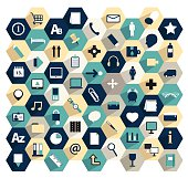 Collection of flat hexagonal media icons.