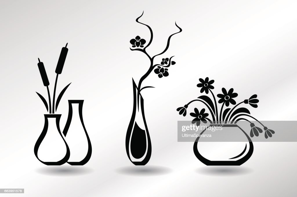 Collection of flat icons vases with flowers, orchid, snowdrops, bulrush