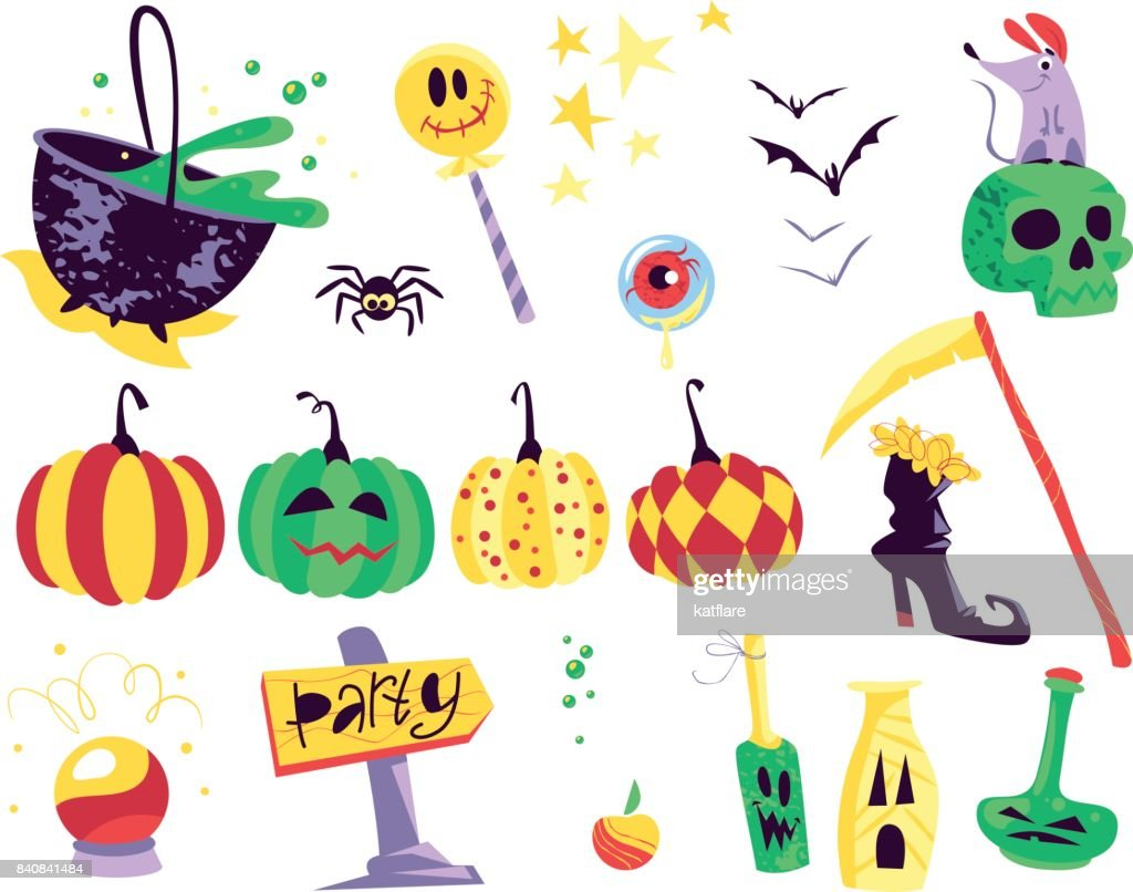 Collection of flat vector halloween traditional decoration elements isolated on white background.