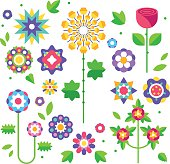 Collection of flowers. Buds and leaves. Vector.