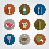 Collection of food and drink icon.