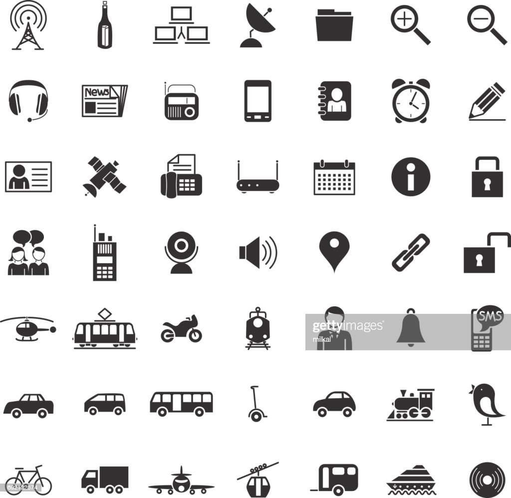 Collection of forty-nine black Transport and communication icons