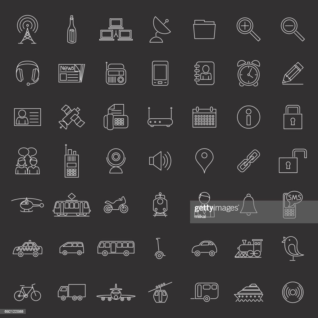Collection of forty-nine white Transport and communication icons