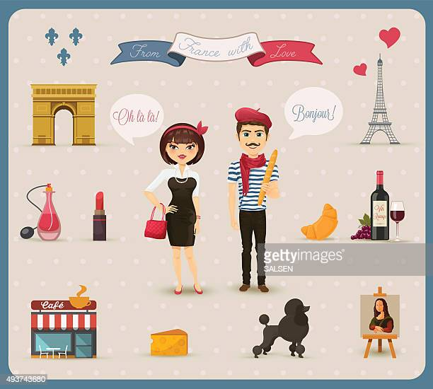 collection of french icons, symbols - french culture stock illustrations