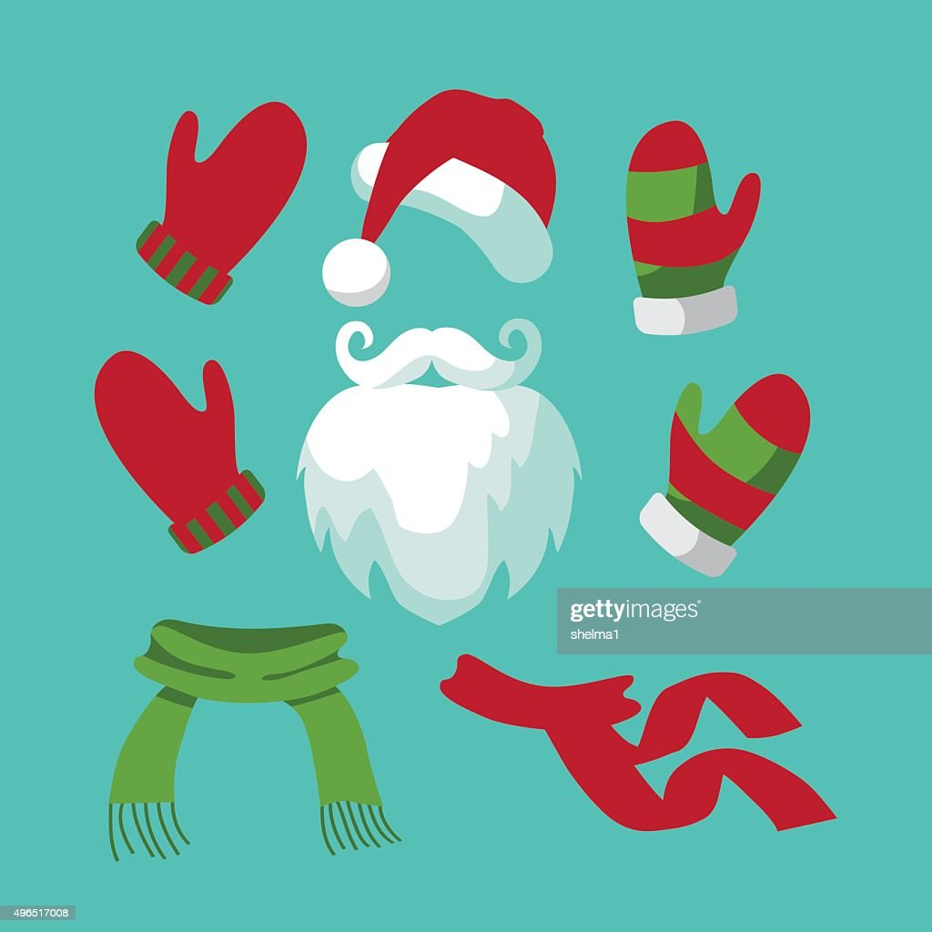 Collection of fun santa hat, mustache, beard, scarves
