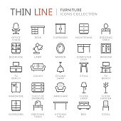 Collection of furniture thin line icons