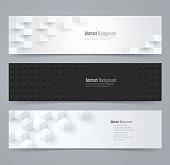 Collection of geometric black and white banner.