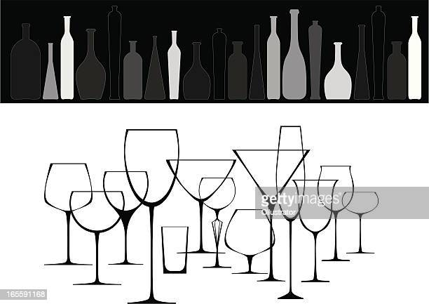 collection of glasses and bottles - shot glass stock illustrations, clip art, cartoons, & icons