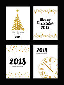 Collection of gold texture Christmas and New Year