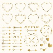 Collection of golden arrows, frames, borders, hearts and lines.