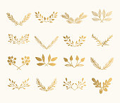 Collection of golden flourish dividers. Hand drawn isolated borders. Foil textured design elements.