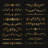 Collection of golden hand drawn flourish text dividers. Doodle gold botanical borders for typography design, invitations, greeting cards.