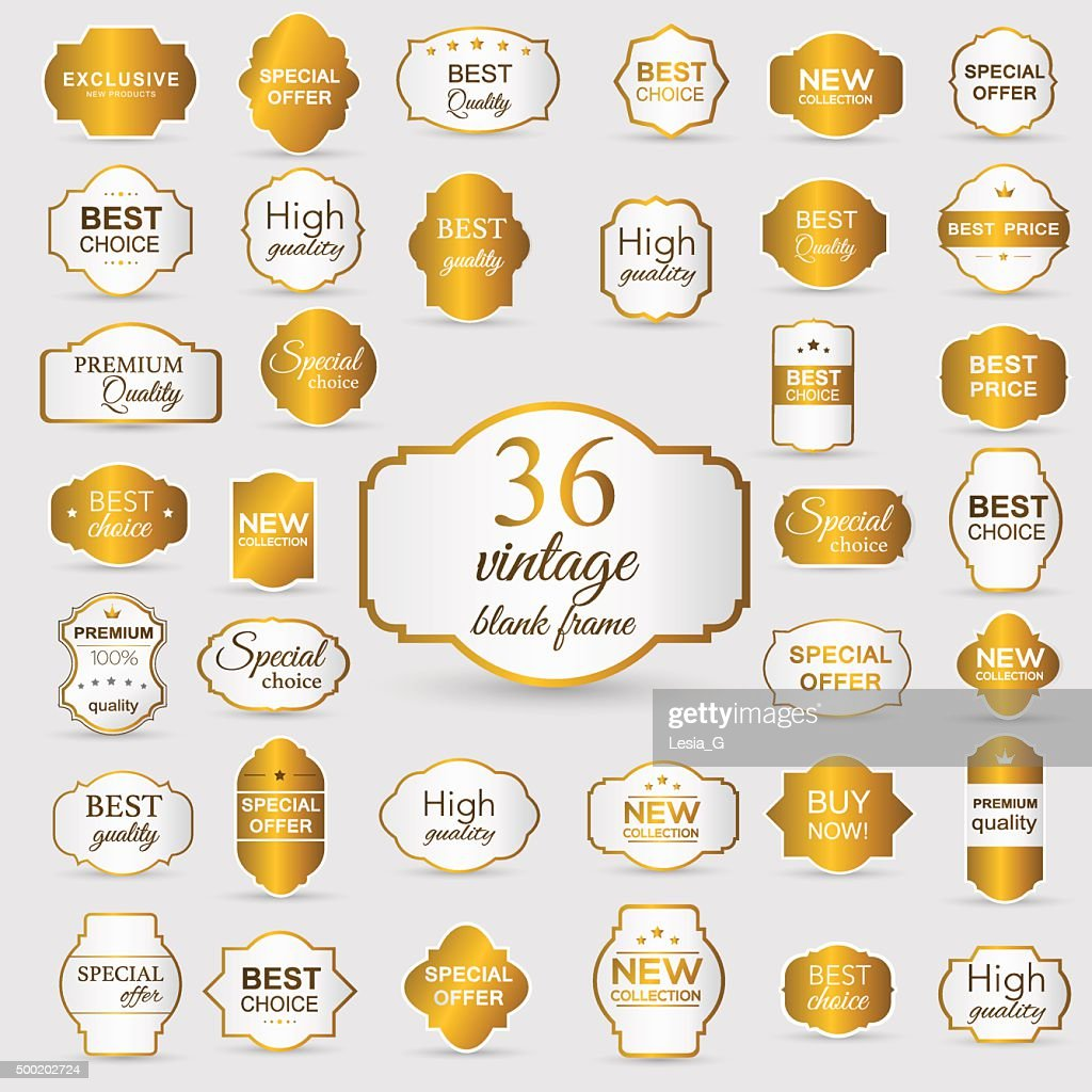 Collection of golden premium promo seals/stickers. isolated vect