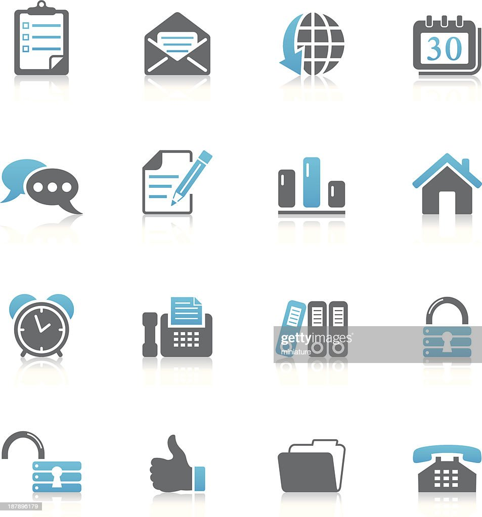 Collection of gray and blue office and web icons
