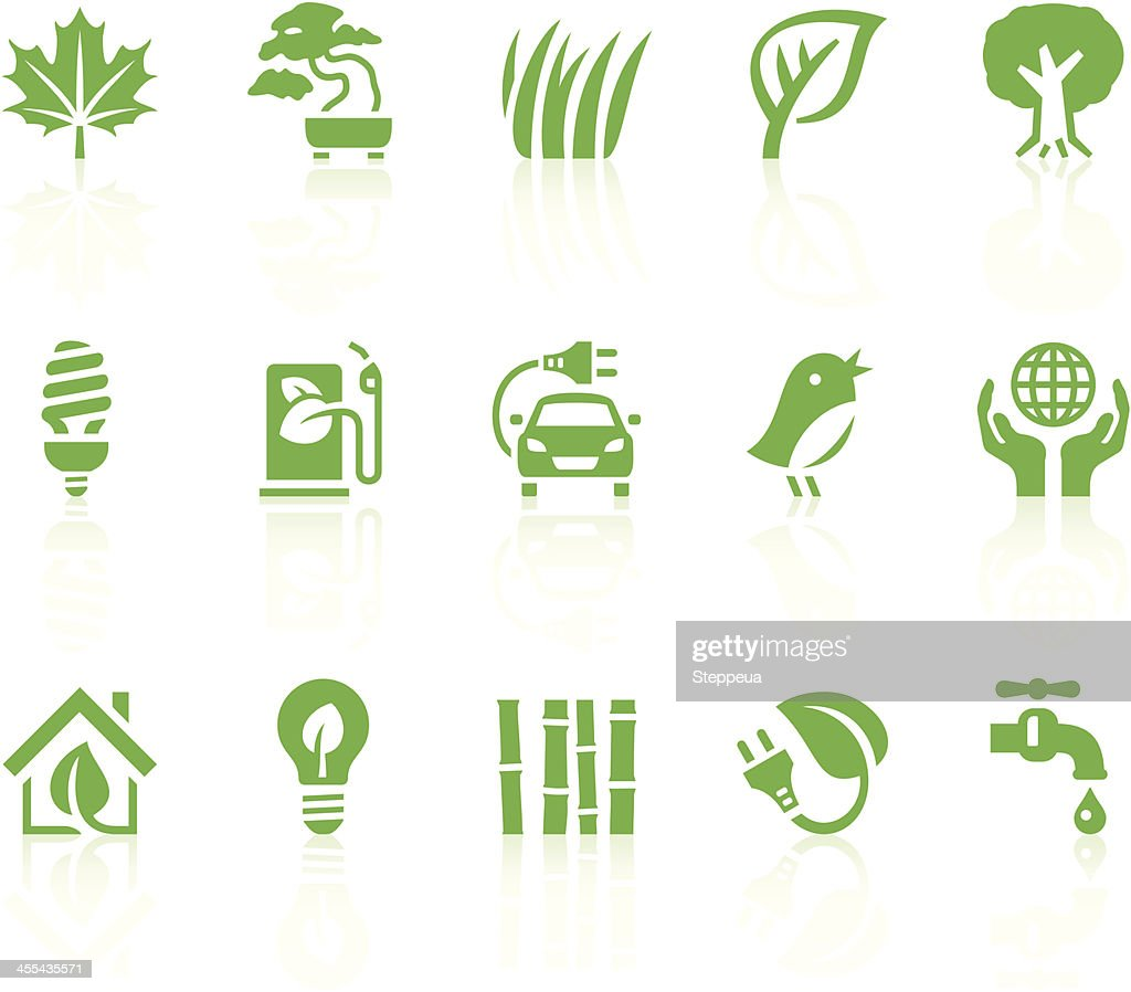 A collection of green eco icons