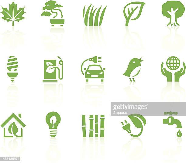 a collection of green eco icons - fuel pump stock illustrations, clip art, cartoons, & icons
