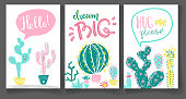 Collection of greeting cards with hand drawn cactus. Bright exot