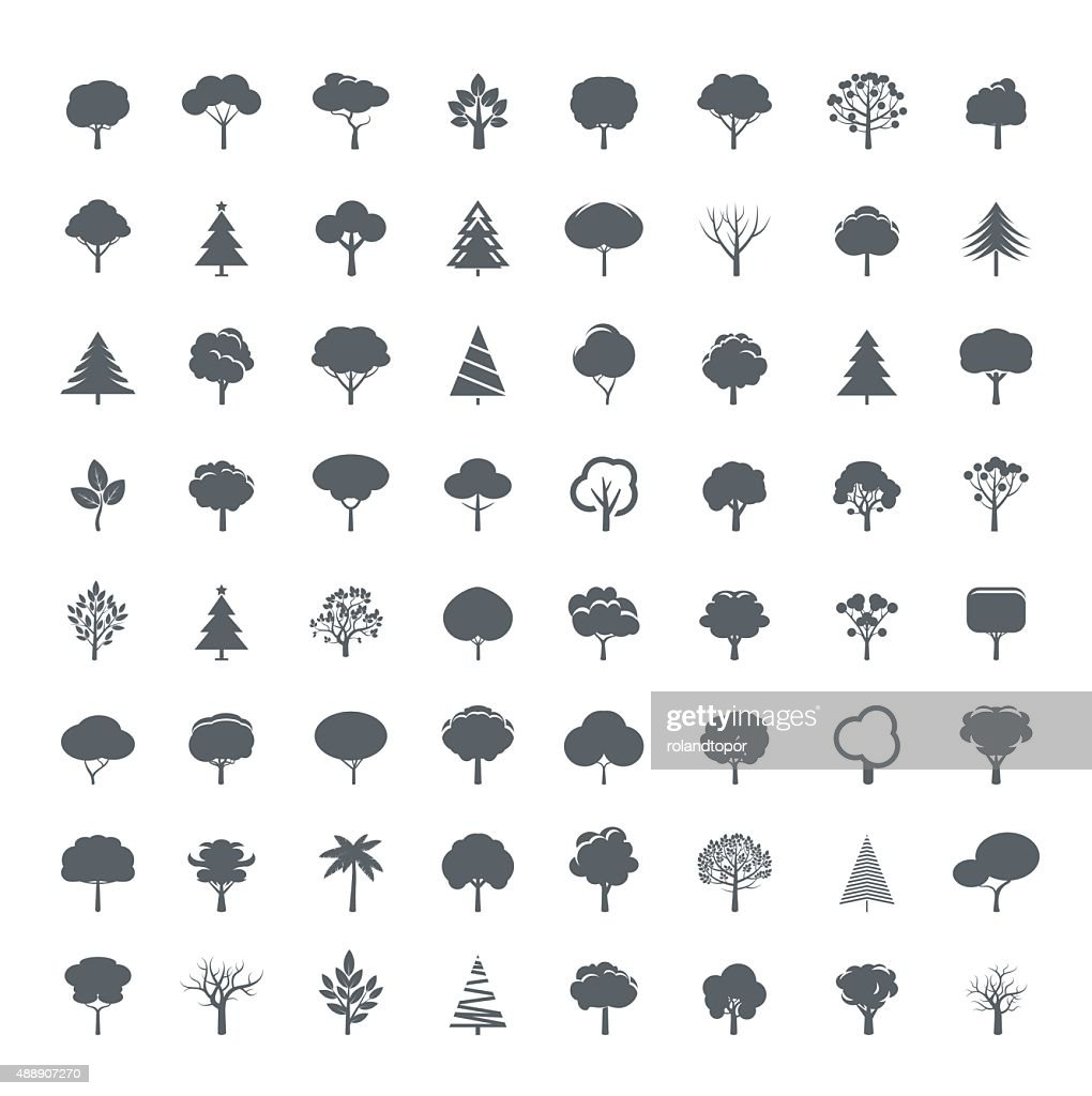 Collection of Grey Trees. Illustration and icons.