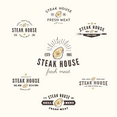 Collection of grill steak labels, badges and design elements