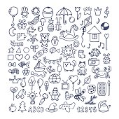 Collection of hand drawn cute doodles. Doodle children drawing