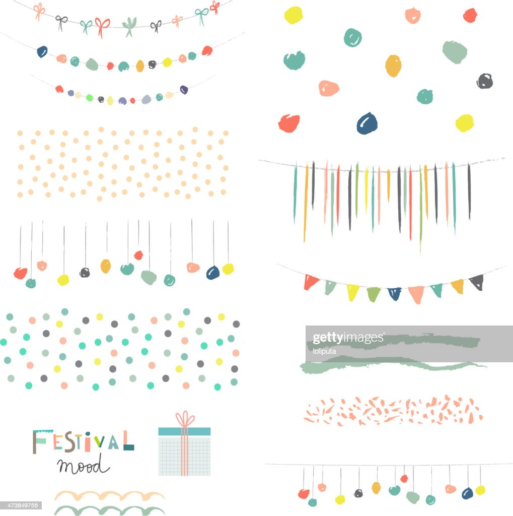 Collection of Hand Drawn Garlands, Party Banners and decor elements