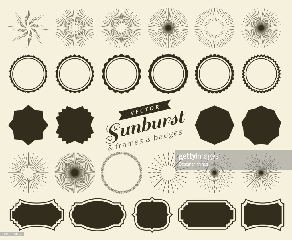 Collection of hand drawn retro sunburst, bursting rays design elements. Frames, badges