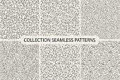 Collection of hand drawn seamless patterns.