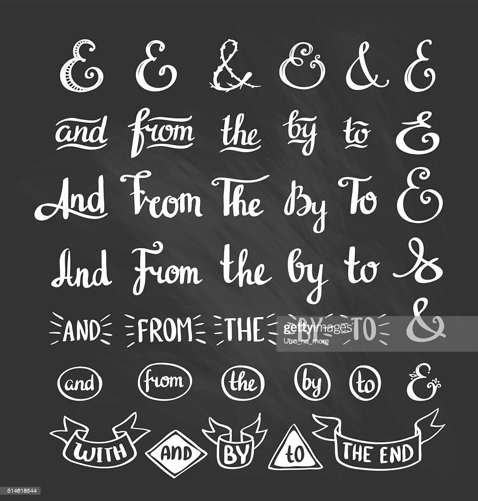 Collection of hand sketched ampersands and catchwords.