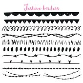 Collection of handdrawn festive borders. Perfect for stylish des