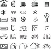 Collection of heating and cooling related icons