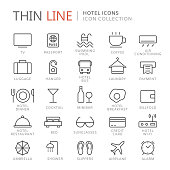 Collection of hotel thin line icons