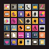 collection of human communication flat shadows icon.