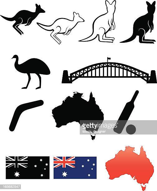 collection of icons representing australia - sydney stock illustrations