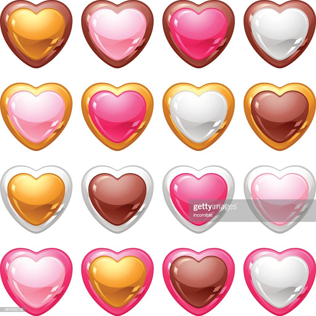 Collection of icons with a shiny, glossy hearts