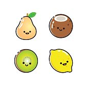 Collection of icons with colorful fruits with smiles