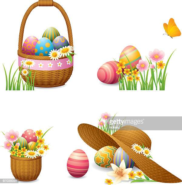 a collection of illustrated easter egg icons - easter basket stock illustrations