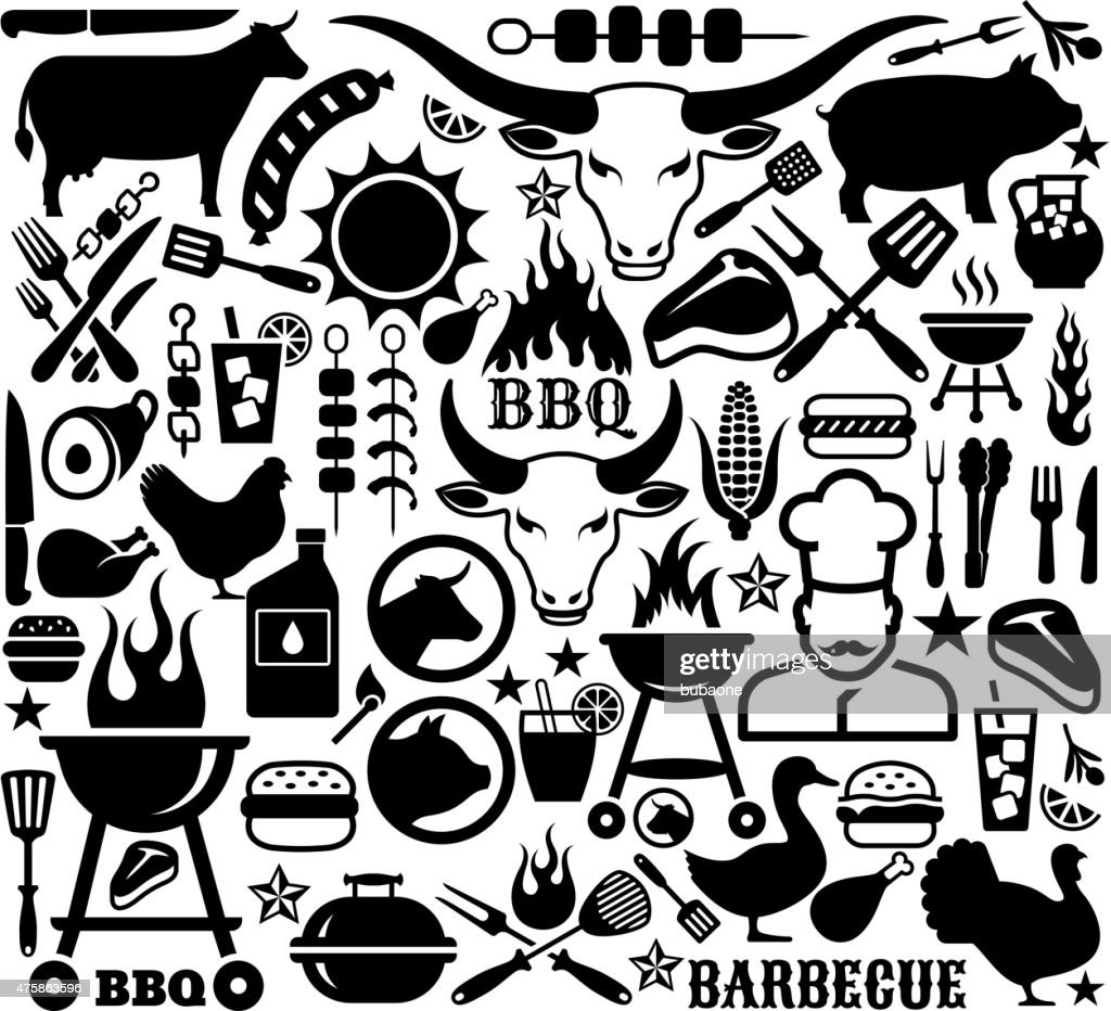 Collection of illustrations and icons with barbecue symbols.