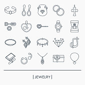 Collection of jewelry outline icons