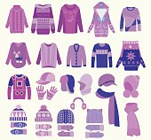 collection of knitted woolen, winter clothes and accessories