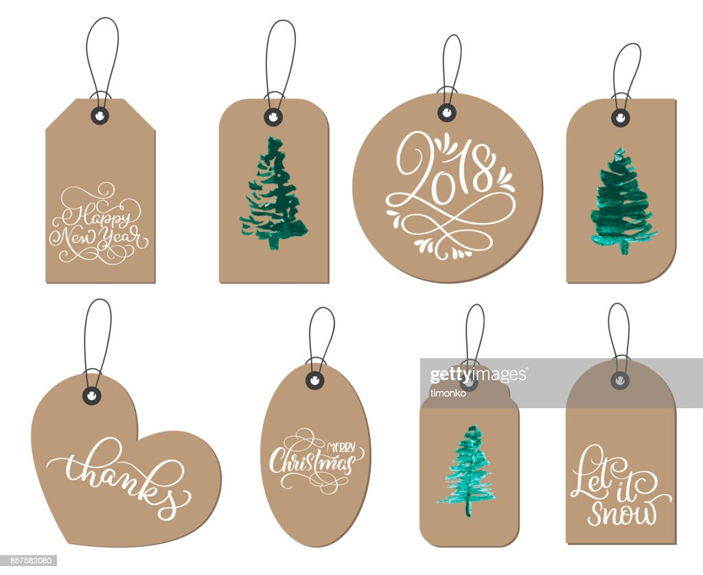 collection of kraft paper christmas gift tags. Calligraphy lettering hand made text. Vector illustration EPS10