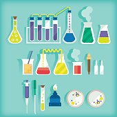 Collection of laboratory equipment infographics