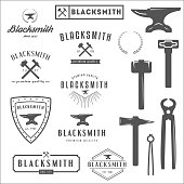 Collection of logo, elements and logotypes for blacksmith or shop