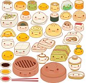 Collection of lovely baby chinese oriental food doodle icon, cut