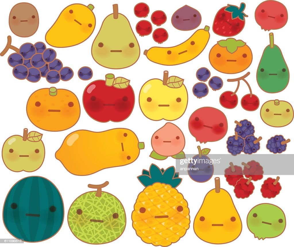 Collection of lovely baby fruit and vegetable doodle icon