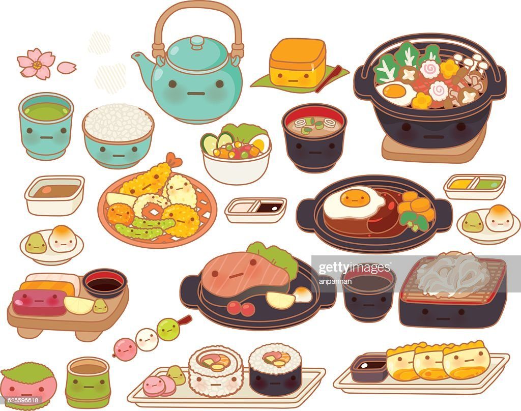 Collection of lovely baby japanese food doodle icon, cute tempur