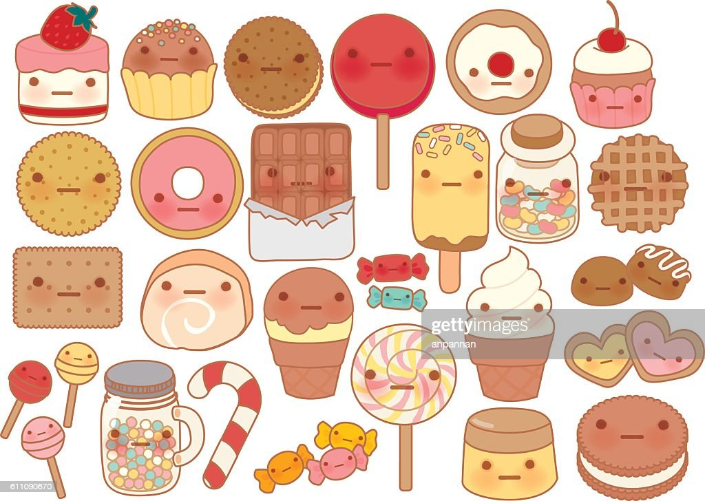Collection of lovely sweet and dessert doodle icon