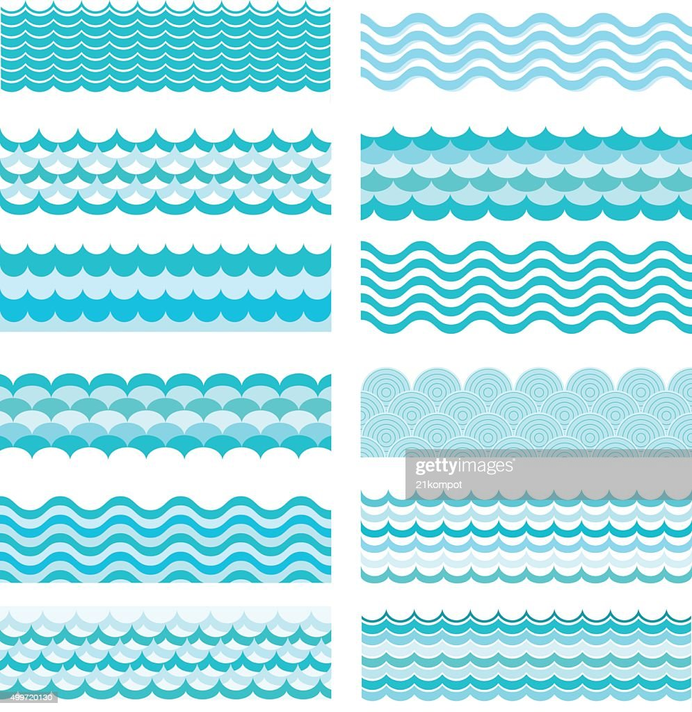 Collection of marine waves. Sea wavy, ocean art water design.
