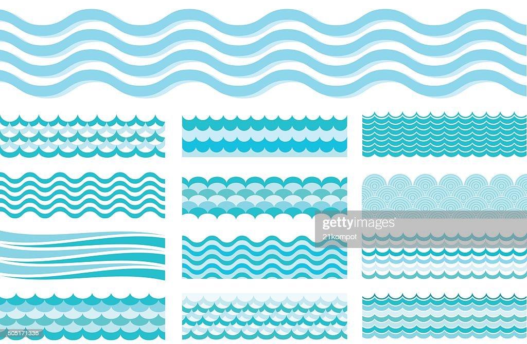 Collection of marine waves. Sea wavy, ocean art water design.